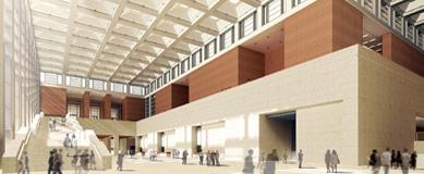 新博物馆260长的内厅的局部。©三维建模:gmp